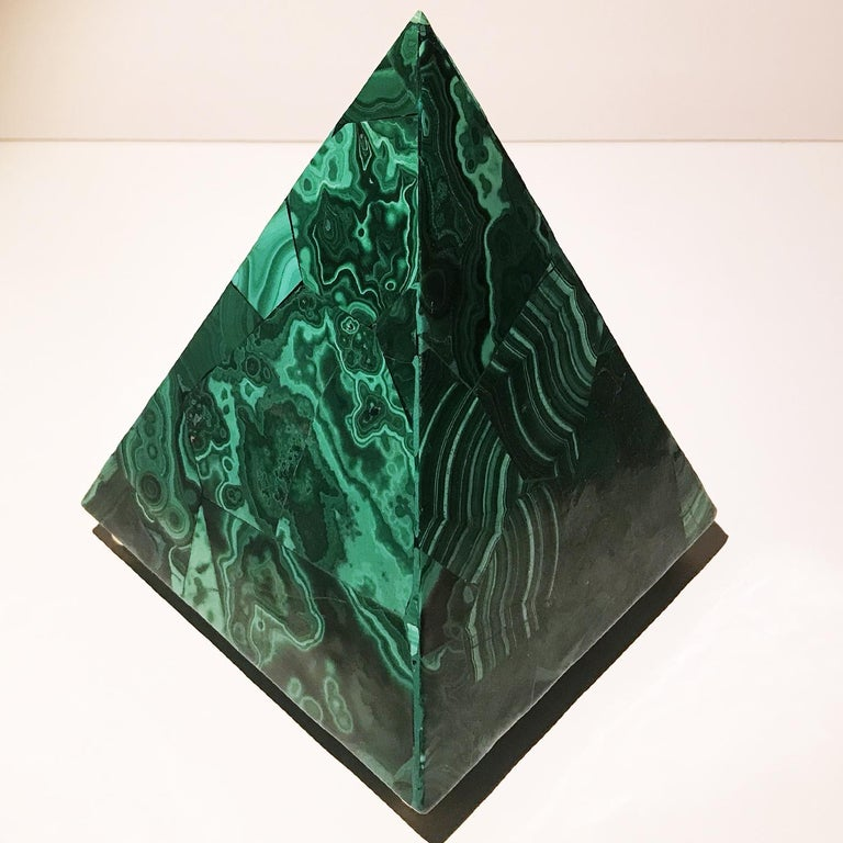 20th Italian Neoclassical Green Malachite and Gold Bronze Sculpture of Pyramid  For Sale 16