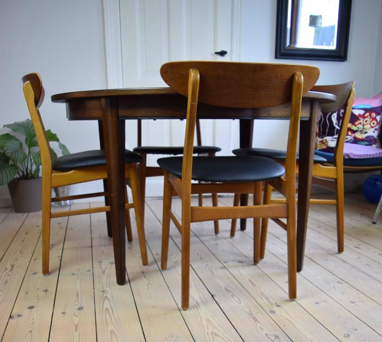 Set Of Four Dining Chairs Manufactured In Denmark In The 1960s. These Chairs  Feature Beech