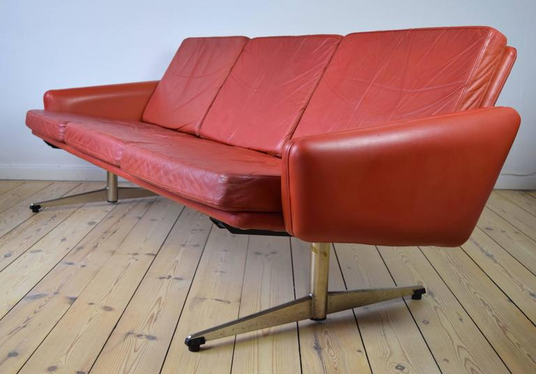 Danish Red Leather Sofa With Shaker Legs 1960s For Sale
