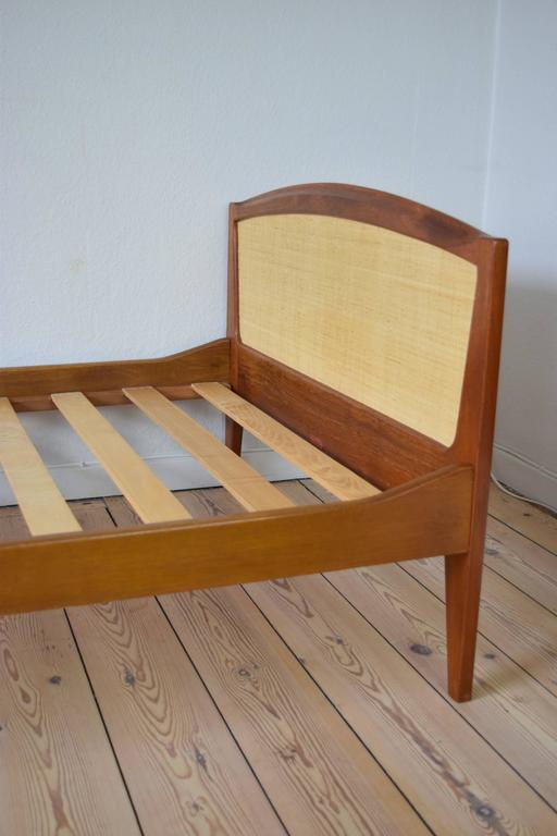 Danish teak and cane bed by sidelmann jacobsen 1960s for sale at 1stdibs for Danish teak bedroom furniture