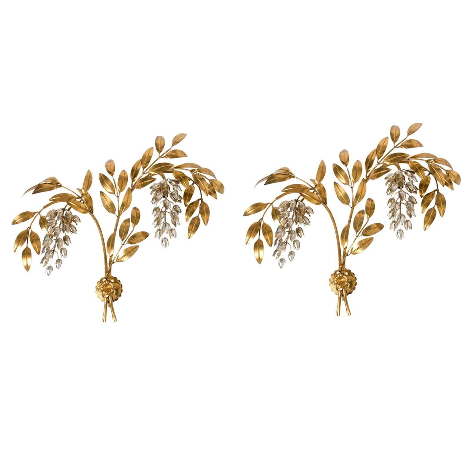 Set of extra large hans kogl gilt metal palm tree wall light set of extra large hans kogl gilt metal palm tree wall light sconce germany for sale at 1stdibs amipublicfo Image collections