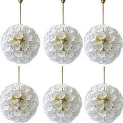 Six Big, Stunning Starburst Sputniks with 79 Glass Flowers, 1960
