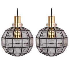 Pair of Large Iron and Clear Glass Lights by Glashütte Limburg, 1965