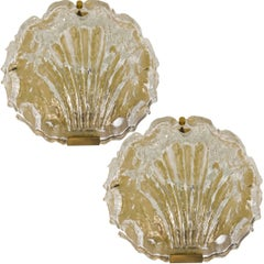 Pair of Golden Ice Glass Shell Wall Sconces from Kalmar, 1960s