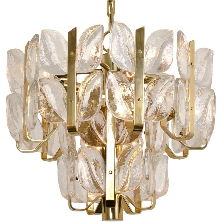 "Kalmar Chandelier or Pedant Light ""Florida"", Crystal Glass and Brass, 1970"