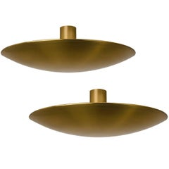 Pair of Extra Large Florian Schulz Brass Flush Mount Ceiling /Wall Lights, 1960