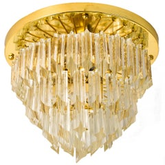 Four-Tiered Venini Murano 'Astra Quadrilobo' Crystal Chandelier, Italy, 1960