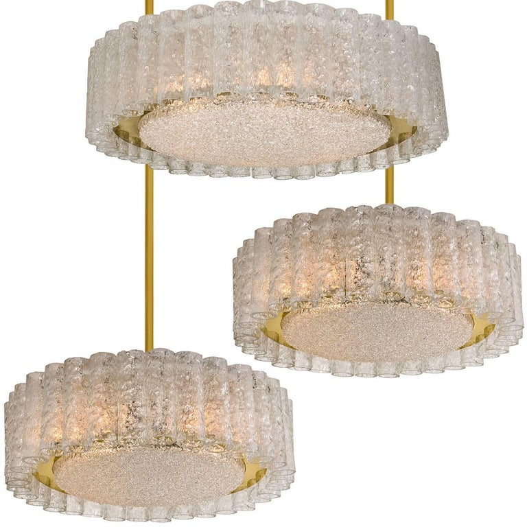 Set of Three Glass Brass Light Fixtures by Doria, 1 Fush Mount 2 Chandeliers