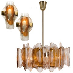 3 Light Fixtures by J.T. Kalmar, Crystal Glass, 1 Chandelier and 2 Wall Lights
