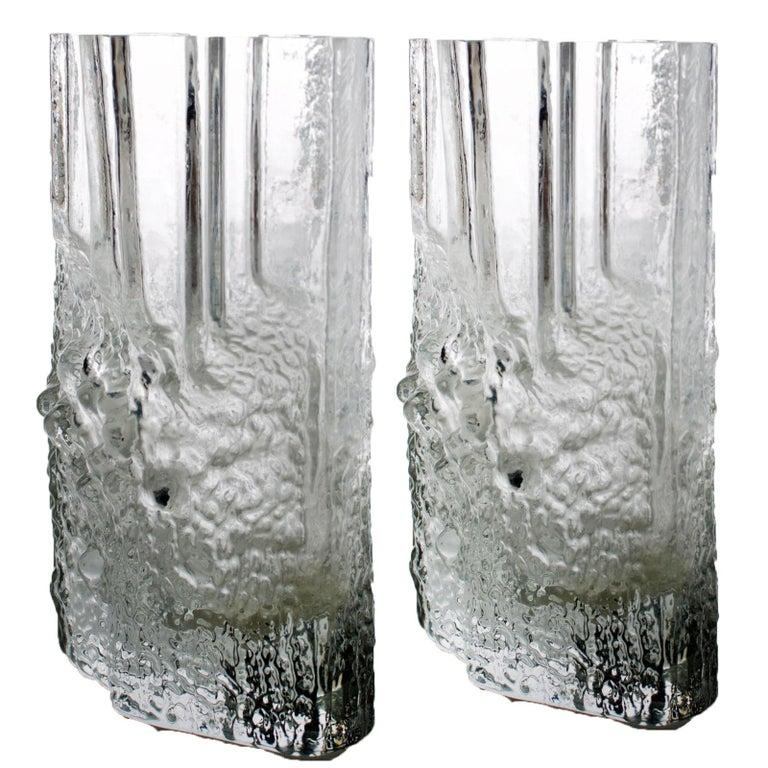 Finnish Pair of Tapio Wirkkala for Iittala Ice Glass Vases For Sale