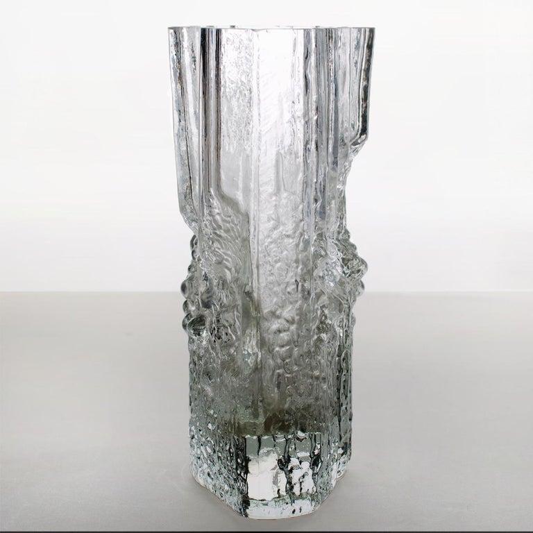 Pair of Tapio Wirkkala for Iittala Ice Glass Vases For Sale 1