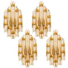 Set of Four Venini Style Murano Glass and Brass Sconces, Italy
