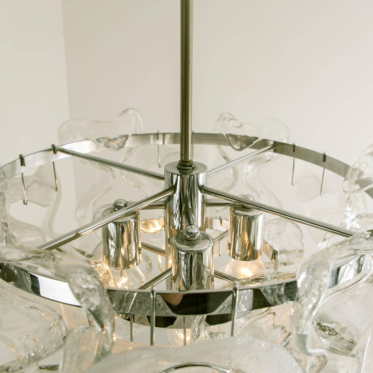 20th Century Large Kalmar, Catena Murano Glass Chrome Chandelier, 1970s For Sale