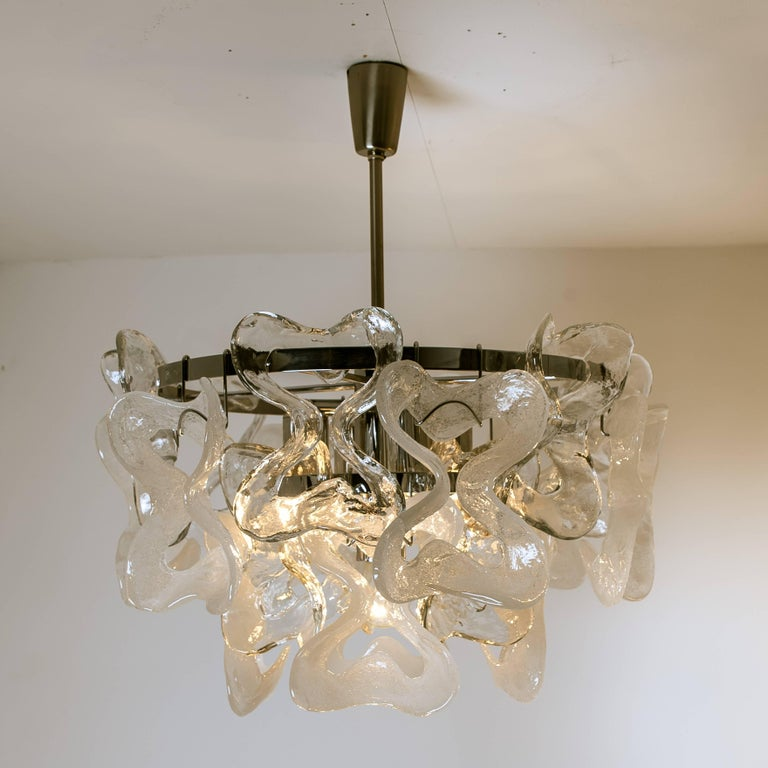 German Large Kalmar, Catena Murano Glass Chrome Chandelier, 1970s For Sale