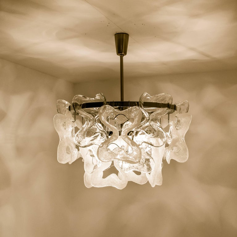 Large Kalmar, Catena Murano Glass Chrome Chandelier, 1970s For Sale 4