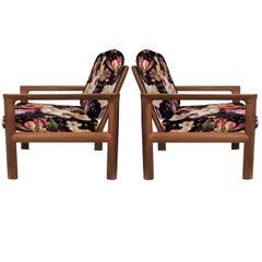 Pair of New Velvet Floral Upholstered Sculpural Easy Chairs by Sven Ellekaer