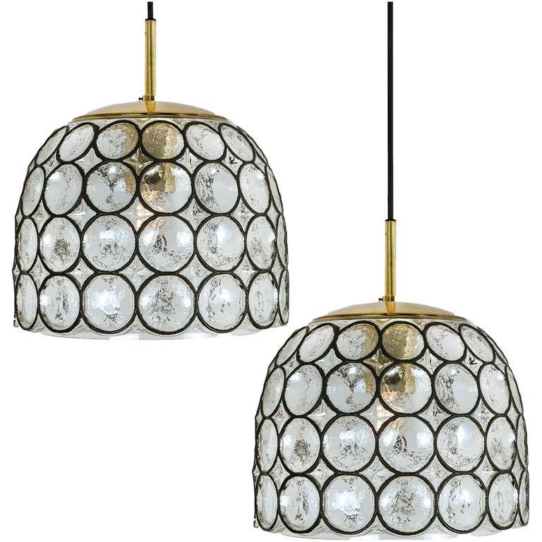 Pair of Circle Iron and Bubble Glass Sconces Light Fixtures, Glashütte Limburg