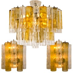 Set of Extra Large Barovier Toso Light Fixtures, Two Wall Lights, One Chandelier