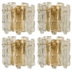 One of Four Ice Glass Wall Sconces with Brass Tone by J.T. Kalmar, Austria