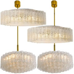 Set of Four Glass Brass Light Fixtures by Doria, Germany, 1960s