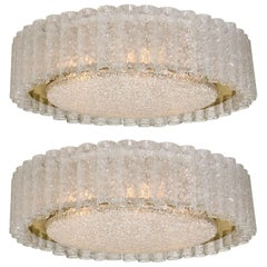 Pair of Extra Large Organic Doria Flush Mount Chandeliers, 1960s