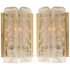 Pair of Structured Ice Glass and Brass Wall Sconces by Doria, 1960