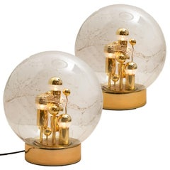 Pair of Large Hand-blown Bubble Glass Doria Table Lamps, 1970