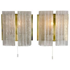 Pair of Doria Brass and Glass Wall Sconces or Lights, 1960s