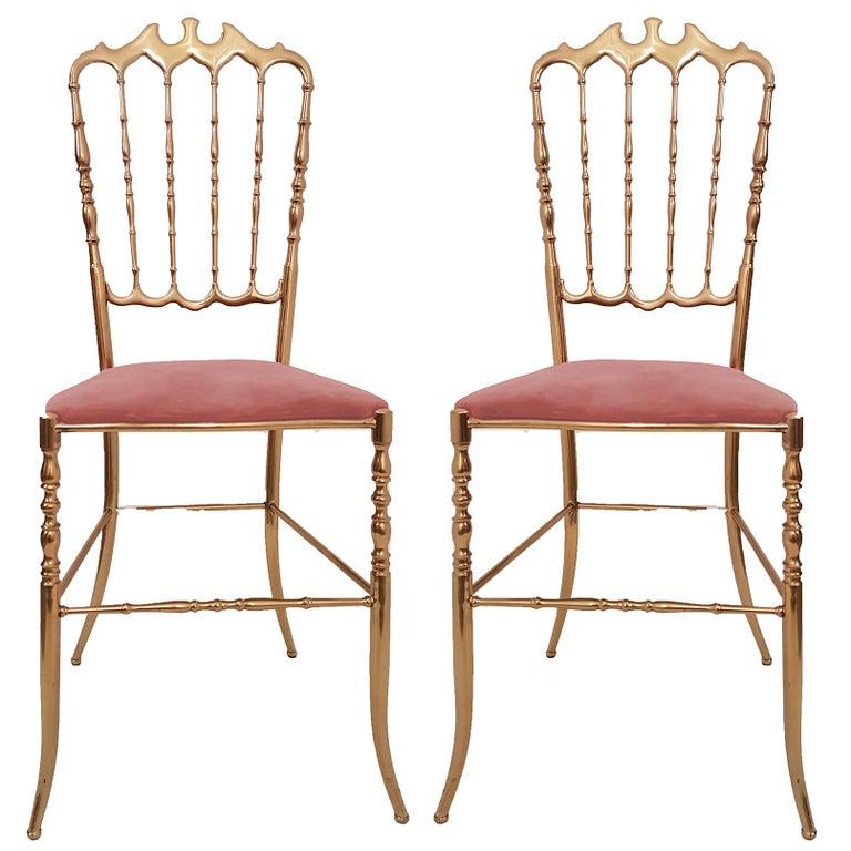 Pair of Italian Massive Brass Chairs by Chiavari, Upholstery Pink Velvet