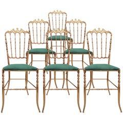 One of Six Italian Brass Chairs by Chiavari, Upholstery Emerald Green Velvet