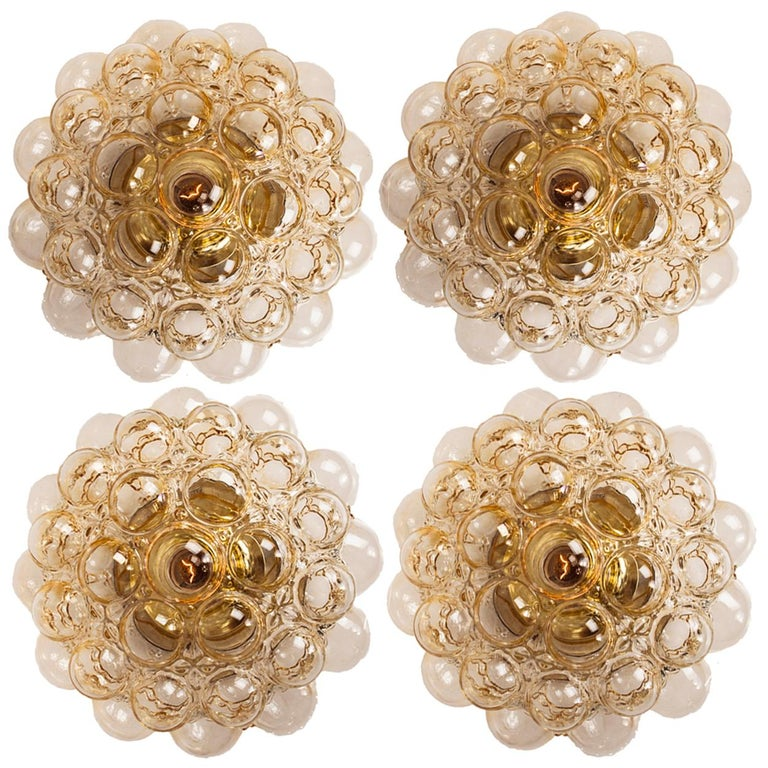 1 of 4 Helena Tynell Amber Bubble Flush Mounts or Wall Sconces, 1960s