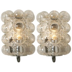 Pair of Glass Wall Lights Sconces by Helena Tynell for Glashütte Limburg, 1960