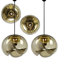 Set of Four-Light Fixtures Koch & Lowy, Two Sconces and Two Pedant Lights, 1970