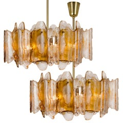 Pair of Hand Blown Murano Glass Chandeliers by J.T. Kalmar, Austria, 1970s