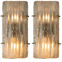 Pair of Glass Wall Sconces by J.T Kalmar, Vienna, Austria