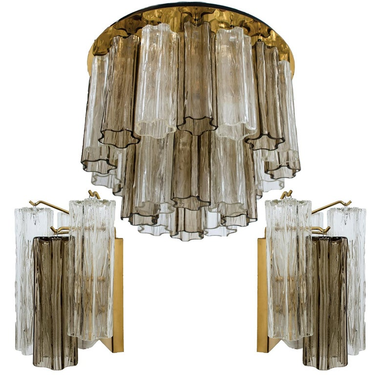Set of J.T. Kalmar Murano Glass Light Fixtures, Austria, 1960