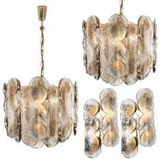 Set of Four Large Kalmar Citrus Swirl Smoked Glass Light Fixtures, Austria, 1969