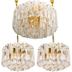 Set of Three J.T. Kalmar 'Palazzo' Light Fixtures Gilt Brass and Glass, Austria