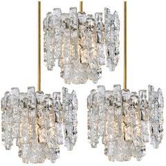 Set of Three Brass Kalmar Modern Ice Glass Pedants, 1970