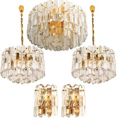 Set of Five J.T. Kalmar 'Palazzo' Light Fixtures Gilt Brass and Glass, 1970