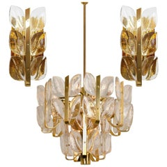 "3 Light Fixtures ""Florida"" Kalmar, Crystal Glass, 1 Chandelier and 2 Wall Lights"