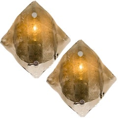 Large Kalmar Murano Smoke Glass Sconces or Wall Lights, 1970s
