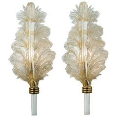Pair of Large Wall Sconces Barovier & Toso Gold Glass, Murano, Italy