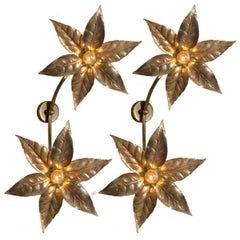Pair of Wiily Daro Style Massive Dubble Flower Wall Lights, 1970