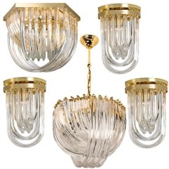 Set of Five Venini Light Fixtures, Curved Crystal Glass and Gilt Brass, Italy