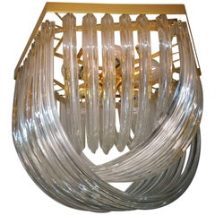 Huge Impressive Venini Flush Mount, Curved Crystal Glass and Gilt Brass, Italy