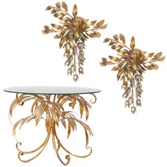 Set of Two Kögl Gilt Metal Palm Tree Wall Sconces and One Side Table, 1960