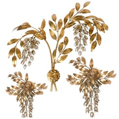 Set of Three Kögl Gilt Metal Palm Tree Wall Sconces 1960s, Maison Jansen Style
