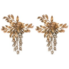 Pair of Hans Kögl Gilt Metal Palm Tree Wall Sconces 1960s in Maison Jansen Style