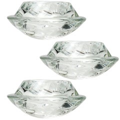 Set of Three Crystal Glass Votive Candle Holders by Royal Copenhagen